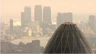 Mist and pollution hang over the London skyline
