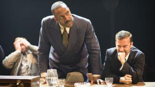 Sir Lenny Henry with Simon Holland Roberts (left) and Philip Cumbus in The Resistible Rise of Arturo Ui