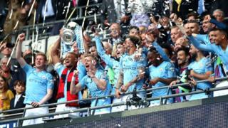 Les joueurs de Manchester City exultent en remportant la FA Cup face à Watford (6-0).
