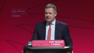 Jeremy Miles addresses Welsh Labour Spring conference in Llandudno, Conwy