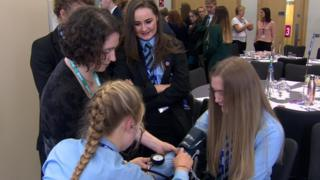 Pupils took part in medical demonstrations such as measuring blood pressure
