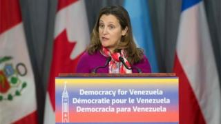 In this file photo taken on February 04, 2019 Canadian Prime Minister Chrystia Freeland delivers her opening remarks at the 10th Lima Group in Ottawa, Ontario