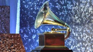 A giant Grammy Award during the 61st Annual Grammy Awards on February 10, 2019, in Los Angeles.