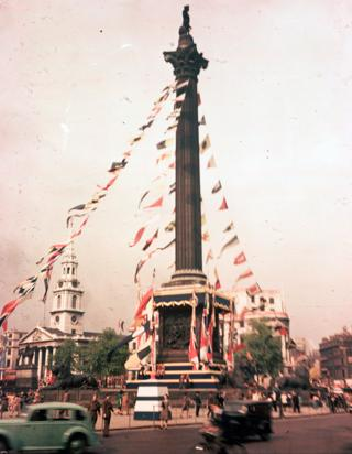 Bunting attached to Nelson's Column in Trafalgar Square, London