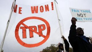 美国反对跨太平洋贸易伙伴关系(TPP)的民众抗议