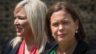 Sinn Féin president Mary Lou McDonald and vice-president Michelle O'Neill