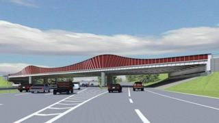 Darmstadt's new motorway bridge is shown painted red in this computer-generated image.