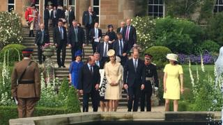 The royal couple arrive at the garden party in Hillsborough