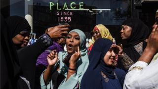 People celebrate at a mosque called the Masjid at-Taqwa after the Eid al-Fitr prayer on June 4, 2019 in the Brooklyn borough of New York City