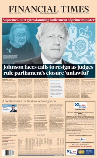 Financial Times front page 25/09/19
