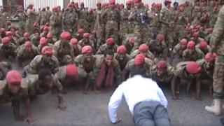 Screen grab of PM doing press-ups