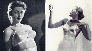 Two women in the 1950s modelling bras