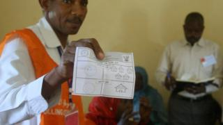 Official shows ballot paper after a referendum at El Fasher in North Darfur. 14 April 2016