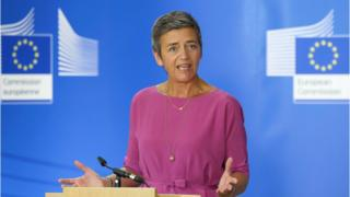 European Union Competition Commissioner Margrethe Vestager at a press conference in July