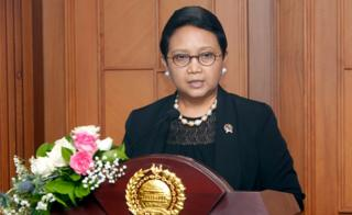 Indonesian Foreign Minister Retno Marsudi talks to journalists during a press conference in Jakarta
