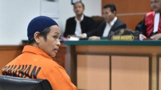 Ali Makhmudin in court in Jakarta. 25 Oct 2016