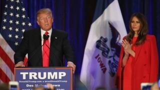 Donald and Melania Trump after the Iowa caucus