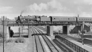 Old Midland Mainline with locomotive in late 1950s