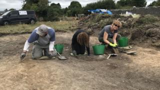 Volunteers working at the site of the former Birr Barracks in Crinkill, County Offaly