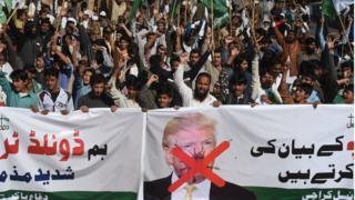 Антиамериканський протест в Карачі через критику Трампом Пакистану