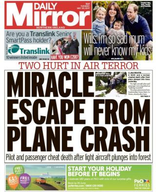 Daily Mirror front page Tuesday 30 May