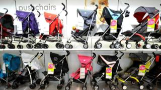 Baby buggies in a mothercare store