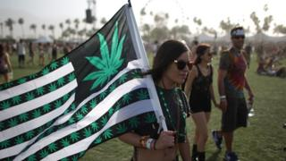 Woman at Coachella festival carries US flag re-designed with cannabis leaves instead of stars on the design