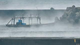 The men's boat was seen by a breakwater at Yurihonjo on Friday morning