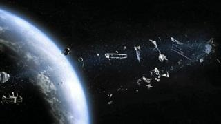 illustration of space debris in orbit