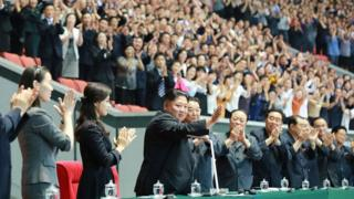 Kim Yo Jong, Kim Jong-un and other North Korean dignitaries