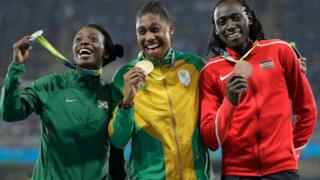 L-R: Burundi's Francine Niyonsaba, South Africa's Caster Semenya, and Kenya's Margaret Wambui holding their 800m medals in Rio, Brazil - Saturday 20 August 2016