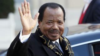 Cameroon president Paul Biya dey wave