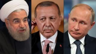 Cumhurbaşkanı Recep Tayyip Erdoğan, İran Cumhurbaşkanı Ruhani ve Rusya Devlet Başkanı Vladimir Putin
