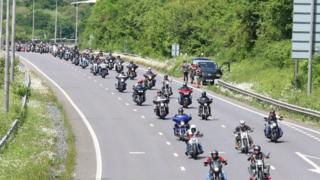 "Mass ""ride out"" from Pease Pottage to Brighton"