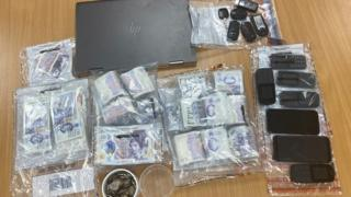 seized cash and phones