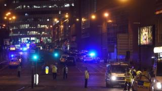 Police outside of the Manchester Arena after the attack