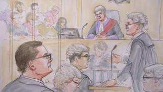 Court sketch showing Shaun Smith opening the case