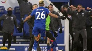 Riyad Mahrez lokacin da ya farke wa Leicester City cin da Bournemouth ta yi mata