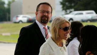 White House adviser Sebastian Gorka (L)at Andrews air force base, Maryland, 25 July