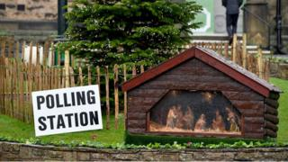 A nativity scene next to a polling station in New Mills