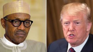 Nigerian President Muhammadu Buhari (left) and US President Donald Trump (right)