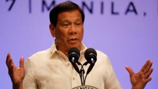 菲律賓總統杜特爾特在東盟峰會閉幕式上演講。