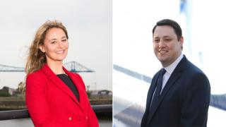 Tees Valley Mayor Ben Houchen, right, Labour candidate for Tees Valley Mayor Jessie Joe Jacobs, left