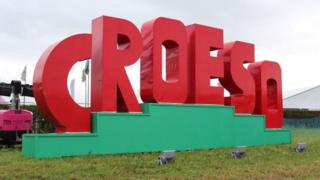 Croeso sign at Eisteddfod