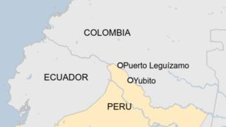 A map of Colombia and Peru