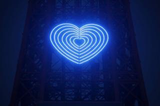 Blackpool Tower with lights arranged in a blue heart