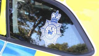 Suffolk Police logo on a police car.