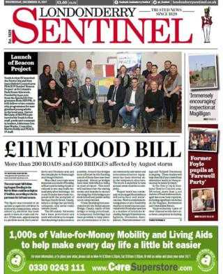 front page of the Londonderry Sentinel Wednesday 13 December 2017