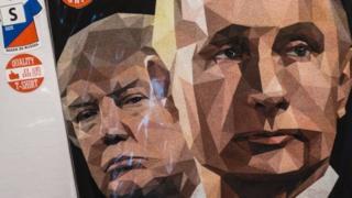 A t-shirt featuring US President Donald Trump and Russian President Vladimir Putin on 27 June
