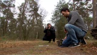 Scientists studying wolf traces in the Netherlands, April 2019